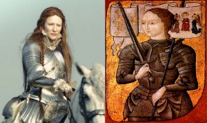 Left: Queen Elizabeth I, portrayed by Cate Blanchett. Right: Joan of Arc (15th century portrait)